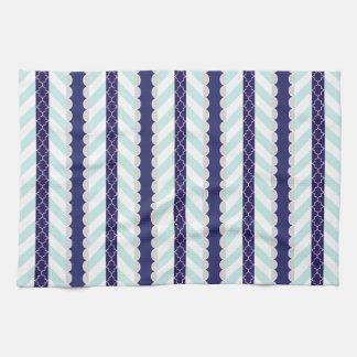 Menta, azul marino, modelo rayado geométrico blanc toalla de mano