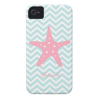 Menta blanca y estrellas de mar rosadas del modelo iPhone 4 cobertura