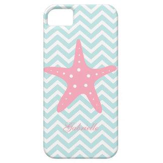 Menta blanca y estrellas de mar rosadas del modelo iPhone 5 carcasa