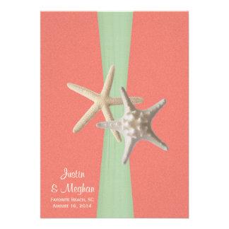 Menta coralina de Shell del boda de playa de las e Invitacion Personal