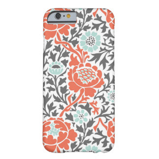 Menta coralina y damasco floral retro gris funda barely there iPhone 6
