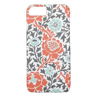 Menta coralina y damasco floral retro gris funda iPhone 7