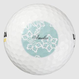 Menta, cordón, floral, blanco, vintage, moda, pack de pelotas de golf
