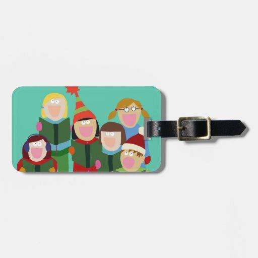 Menta de la etiqueta del equipaje de los Carolers Etiqueta De Equipaje