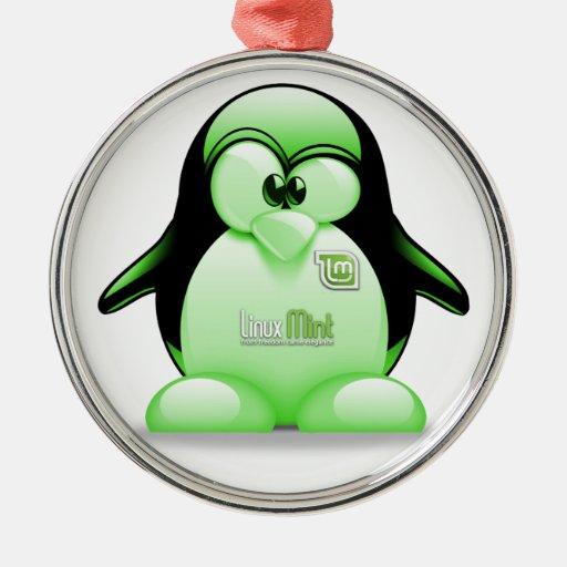 Menta de Linux con el logotipo de Tux Adorno De Reyes