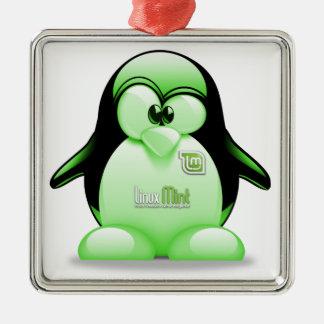 Menta de Linux con el logotipo de Tux Adorno De Navidad