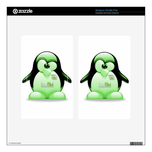 Menta de Linux con el logotipo de Tux Pegatinas Skins Para Kindle Fire