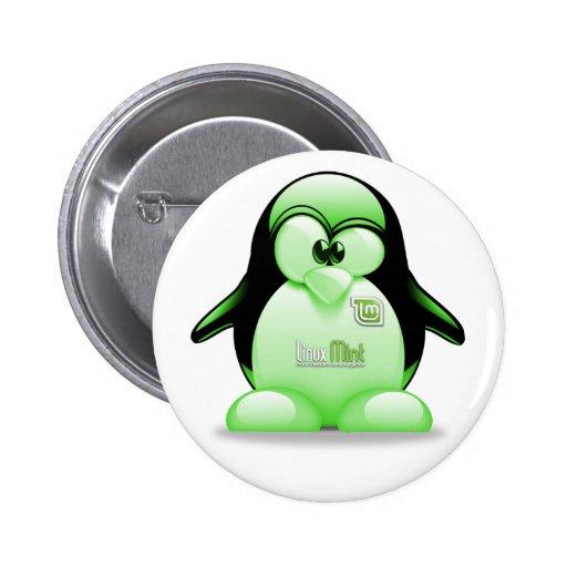 Menta de Linux con el logotipo de Tux Pin Redondo 5 Cm