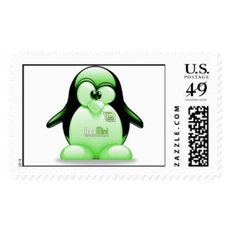 Menta de Linux con el logotipo de Tux Sello
