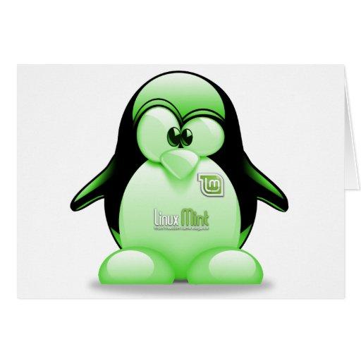 Menta de Linux con el logotipo de Tux Tarjeta