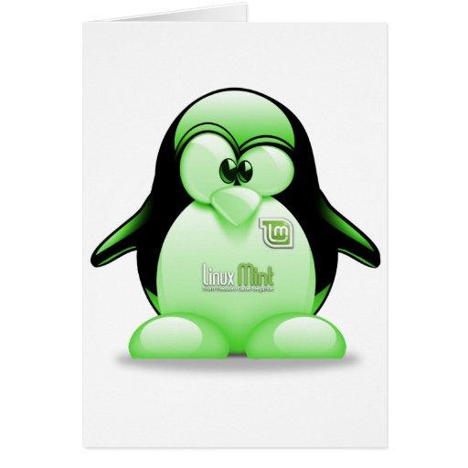 Menta de Linux con el logotipo de Tux Tarjeta De Felicitación
