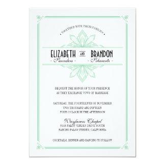 Menta de Vinatge Deco y invitación negra del boda Invitación 12,7 X 17,8 Cm