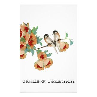 Menta del melocotón del pájaro del amor de la flor papeleria de diseño