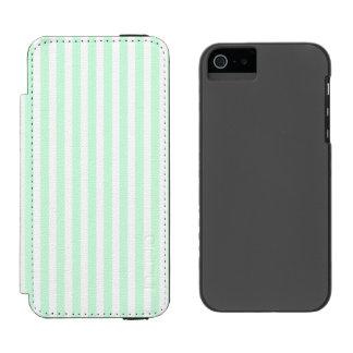 Menta del verano pálida - menta verde y raya funda billetera para iPhone 5 watson