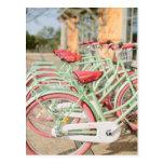 Menta del vintage y bici rosada postal
