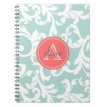 Menta e impresión con monograma coralina del damas cuaderno