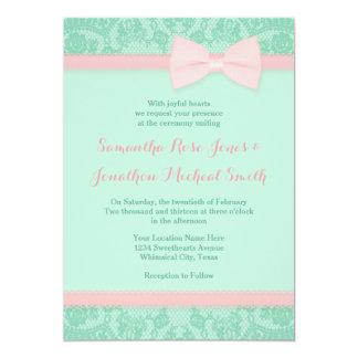 Menta e invitación rosada del boda del cordón