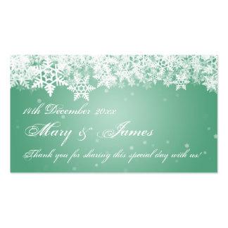Menta elegante de los copos de nieve del invierno tarjetas de visita