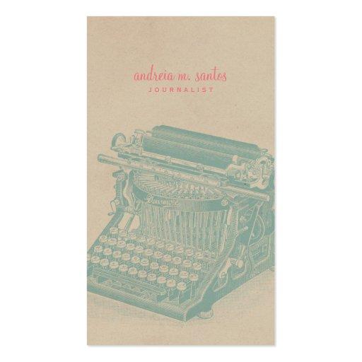 Menta fresca de la máquina de escribir del vintage tarjeta de visita