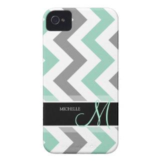 Menta fresca personalizada y Chevron gris iPhone 4 Case-Mate Protector