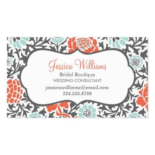 Menta gris y damasco floral retro coralino tarjetas personales