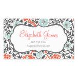 Menta gris y damasco floral retro coralino plantilla de tarjeta personal