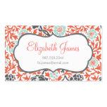 Menta gris y damasco floral retro coralino plantillas de tarjetas personales
