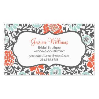 Menta gris y damasco floral retro coralino tarjetas de visita