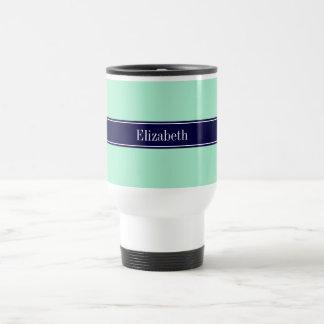 Menta ligera sólida monograma del nombre de la tazas de café