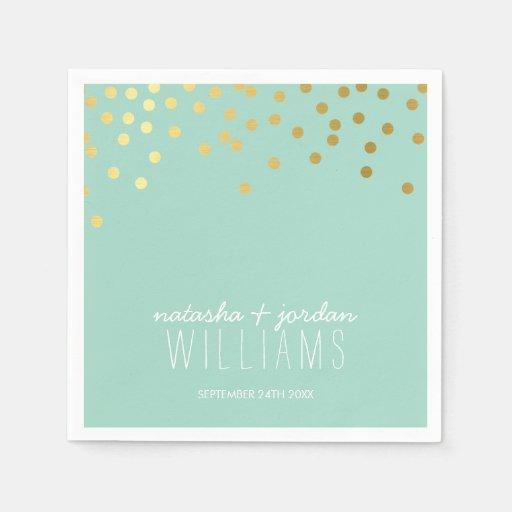 Menta linda del oro de puntos del confeti de la servilletas desechables