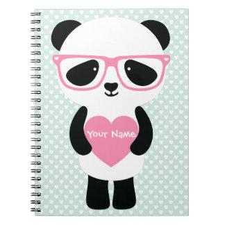 Menta linda/rosa de la panda libreta