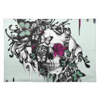 Menta perdida del alma y cráneo floral rosado mantel individual