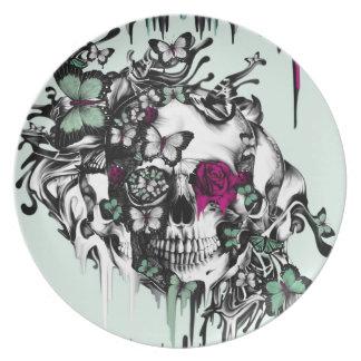 Menta perdida del alma y cráneo floral rosado plato de cena