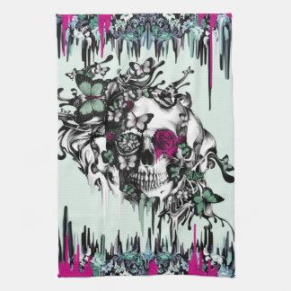 Menta perdida del alma y cráneo floral rosado toalla de cocina