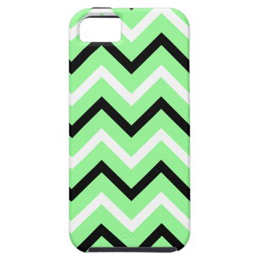 Menta, rayas blancos y negros de Chevron (zigzags) iPhone 5 Funda