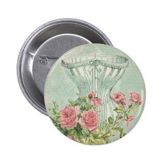 Menta romántica de los rosas del rosa del vintage pin redondo de 2 pulgadas