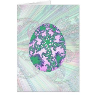 Menta rosada y huevo pintado púrpura tarjeta de felicitación