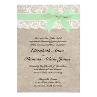 Menta rústica de la invitación del boda de la invitación 12,7 x 17,8 cm