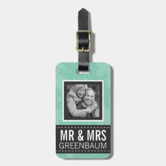 Menta suave y Sr. y señora grises Personalized Pho Etiquetas Maleta