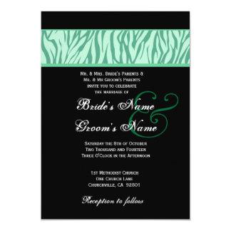 """Menta, trullo y plantilla moderna negra del boda invitación 5"""" x 7"""""""