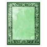 Menta verde de papel del pedazo y del arte de la f membrete personalizado
