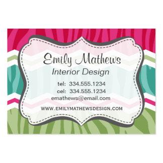 Menta, verde, y rayas rosadas magentas de la cebra tarjetas de visita grandes