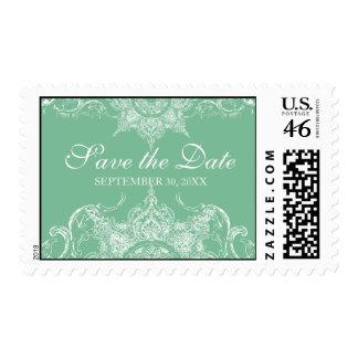 Menta y blanco de los sellos del boda del remolino