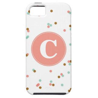 Menta y caso del iPhone del confeti del coral iPhone 5 Protectores