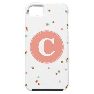 Menta y caso del iPhone del confeti del coral iPhone 5 Case-Mate Cárcasa