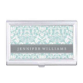 Menta y damasco elegante gris caja de tarjetas de presentación