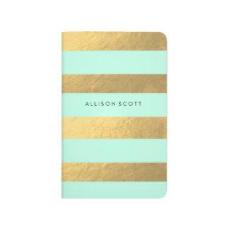 Menta y diario personalizado oro cuaderno grapado