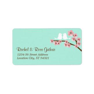 Menta y dirección rosada del boda de la flor de ce etiqueta de dirección