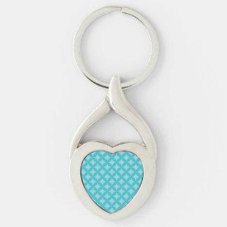 Menta y diseño azul de Geocircle Llavero Plateado En Forma De Corazón