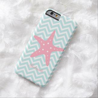 Menta y estrellas de mar rosadas del modelo de funda para iPhone 6 barely there